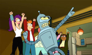 "Bender from Futurama: ""We're back, baby!"""